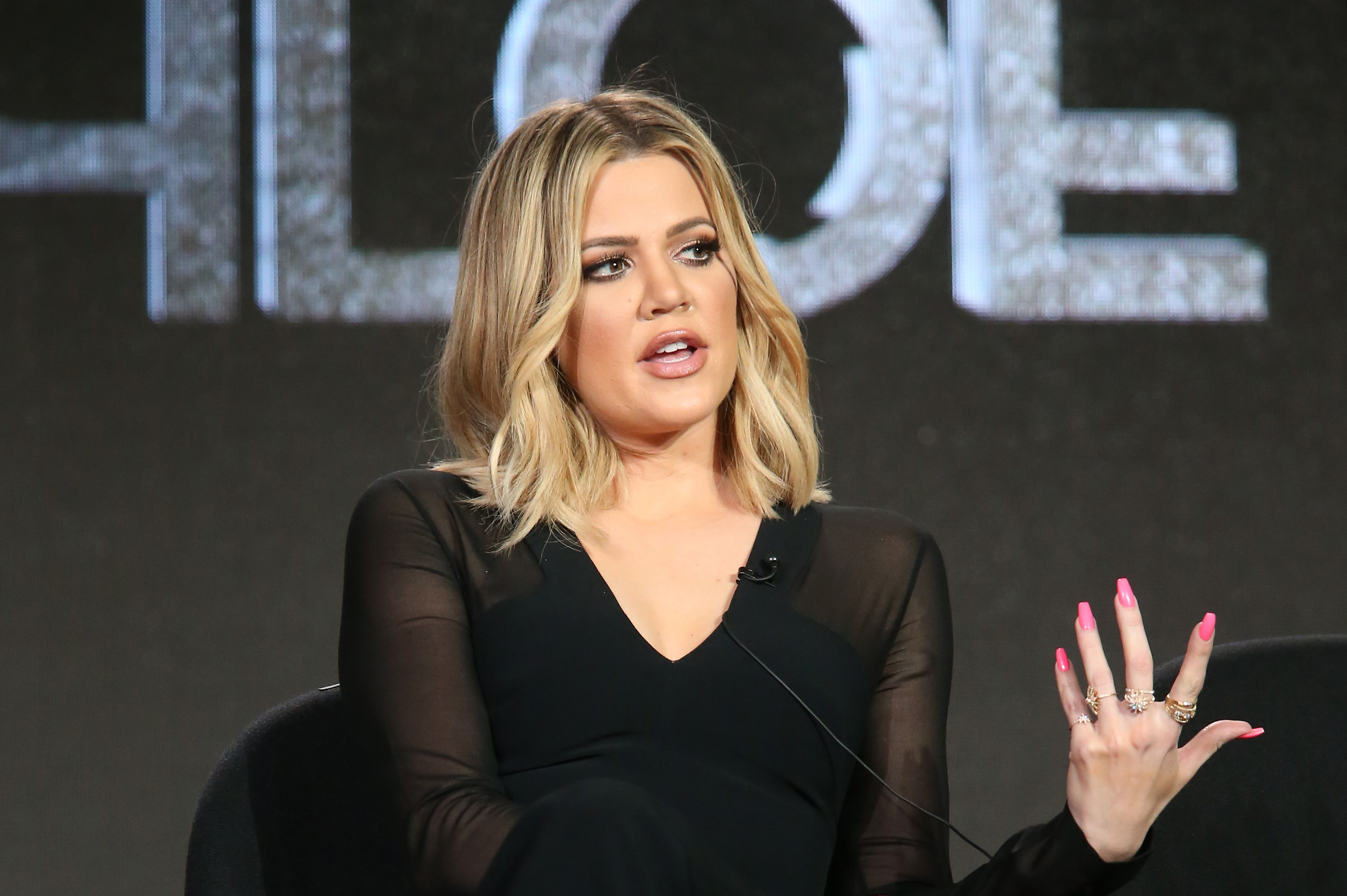 Craig Piligian, resident & CEO of Pilgrim Media Group and executive producer, and Khloe Kardashian, executive producer, speak onstage during FYI - Kocktails with Khloe panel as part of the A+E Network portion of This is Cable 2016 Television Critics Association Press Tour at Langham Hotel on January 6, 2016 in Pasadena, California.
